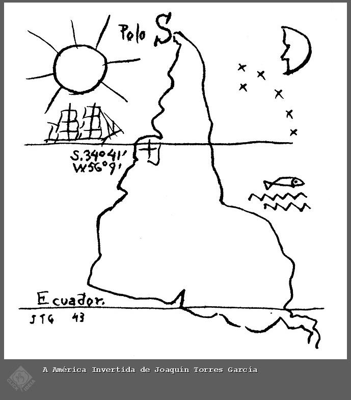 O mapa da América do sul em Guarani