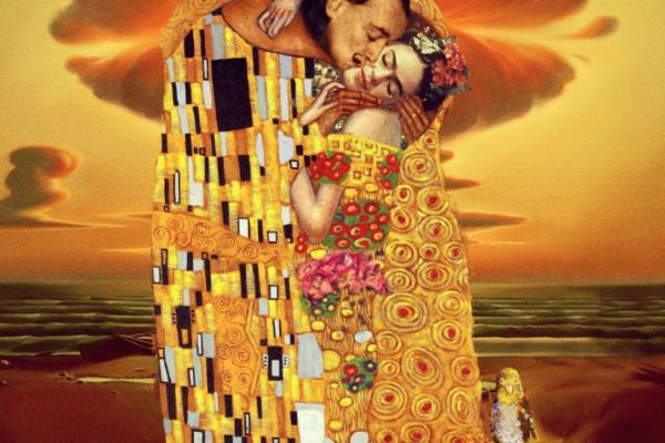 E se pinturas famosas fossem fotos reais arte no caos  o beijo