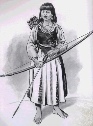 Clara Camarão índia da tribo potiguar do Rio Grande do norte e líder de um grupo de guerreiras na luta contra os holandeses